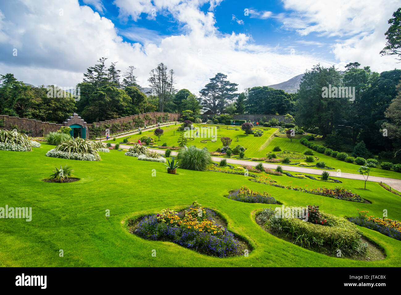 Walled Victorian garden in Kylemore Abbey, Connemara National Park, County Galway, Connacht, Republic of Ireland, Europe - Stock Image