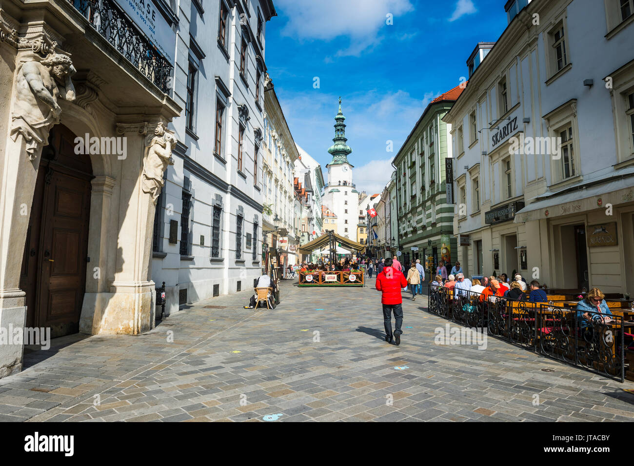 Pedestrian zone in the centre of Bratislava with Michael's Gate in the background, Bratislava, Slovakia, Europe - Stock Image