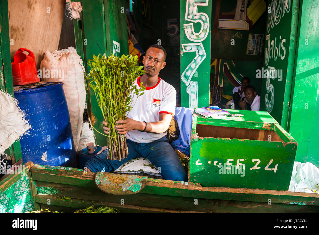 Man selling khat in the market of Hargeisa, Somaliland, Somalia, Africa - Stock Image