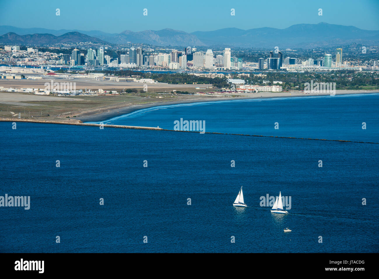 View over San Diego Bay from the Cabrillo National Monument, Point Loma, San Diego, California, USA, North America - Stock Image