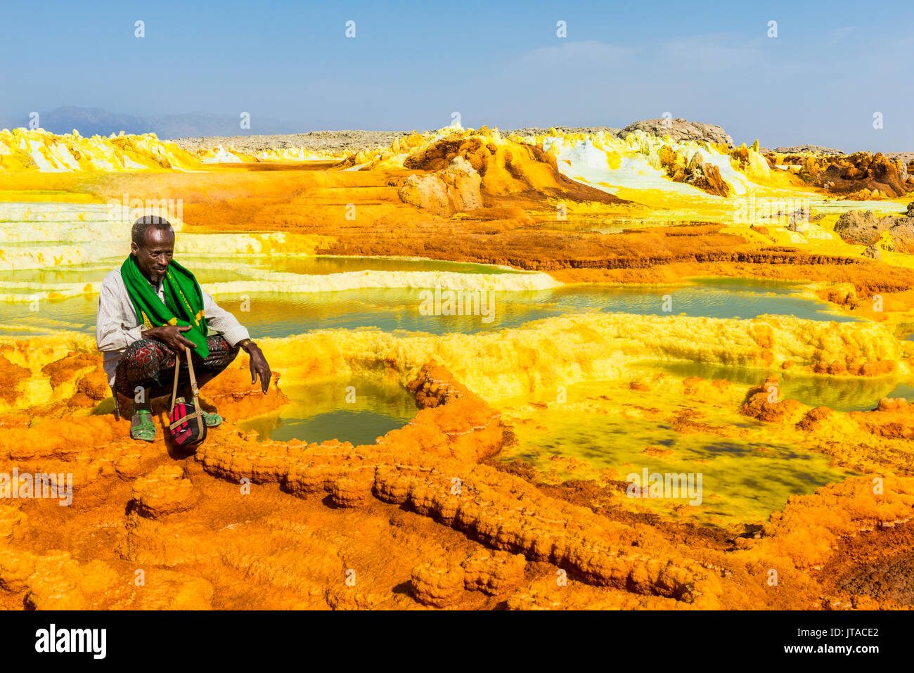 Colourful springs of acid in Dallol, hottest place on earth, Danakil depression, Ethiopia, Africa - Stock Image