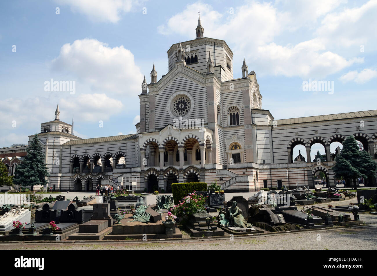The Monumental Cemetery, more than just a simple cemetery, is an extraordinary outdoor museum, Milan, Lombardy, Italy, Europe - Stock Image