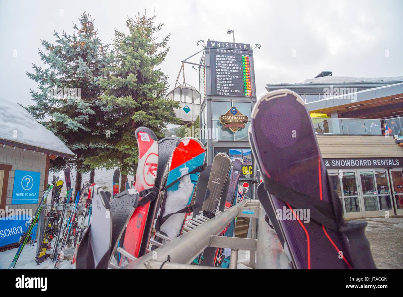 Ski equipment outside the GLC, a top apres bar in Whistler, British Columbia, Canada, North America - Stock Image