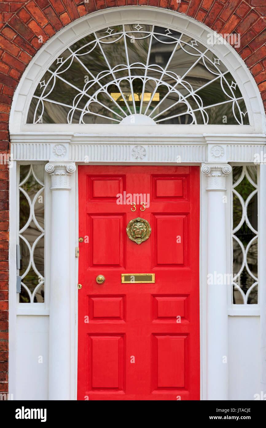 Georgian Door, Merrion Street Upper, Dublin City, County Dublin, Republic of Ireland, Europe - Stock Image