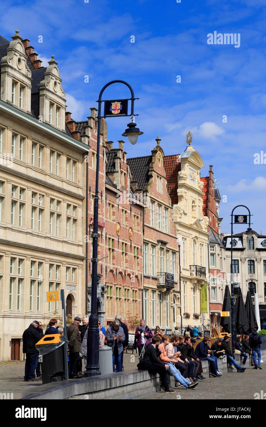 Korenlei Waterfront, Ghent, East Flanders, Belgium, Europe - Stock Image