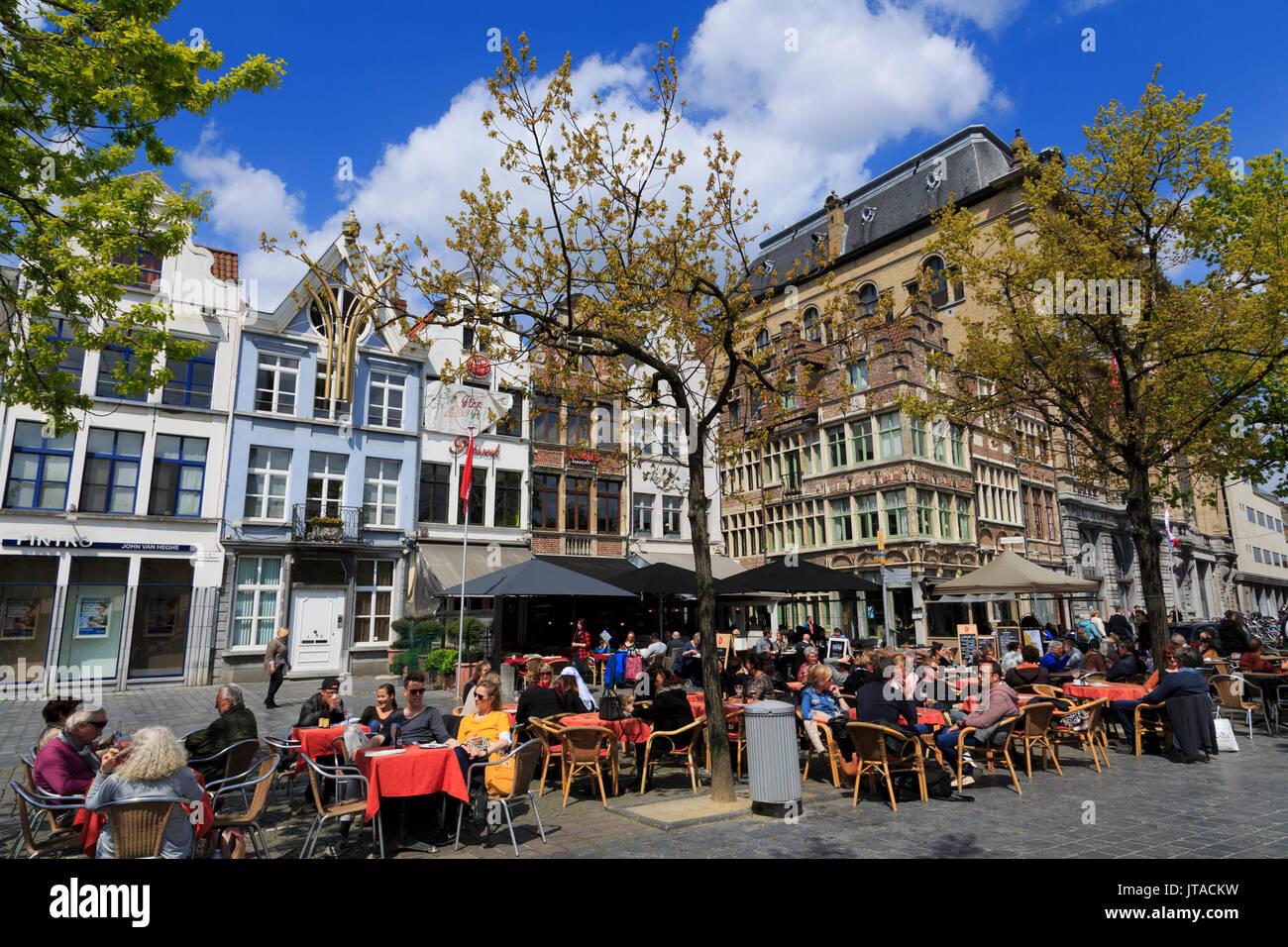 Vrijdag Market, Ghent, East Flanders, Belgium, Europe - Stock Image
