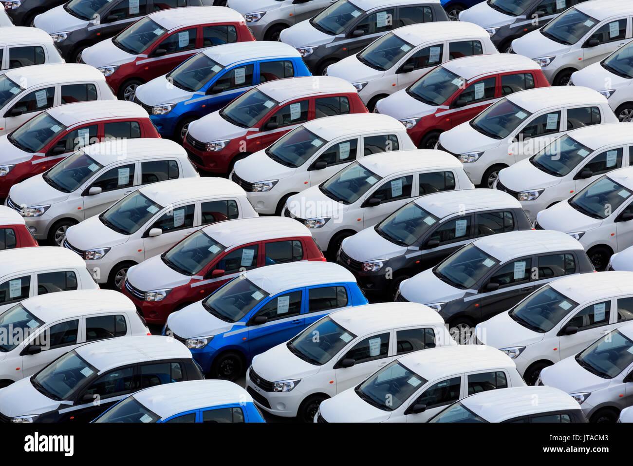 New cars, Port of Zeebrugge, Blankenberge, Flanders, Belgium, Europe - Stock Image