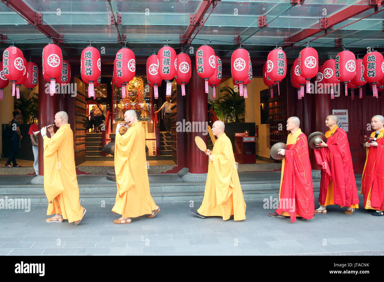 Ullambana ceremony, Buddhist monks' procession, Buddha Tooth Relic Temple, Chinatown, Singapore, Southeast Asia, Asia - Stock Image