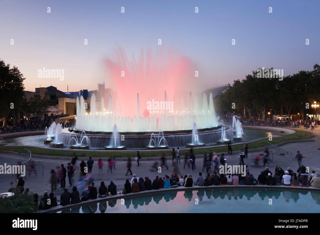 Font Magica (Magic Fountain) at Palau Nacional (Museu Nacional d'Art de Catalunya), Montjuic, Barcelona, Catalonia, Spain - Stock Image