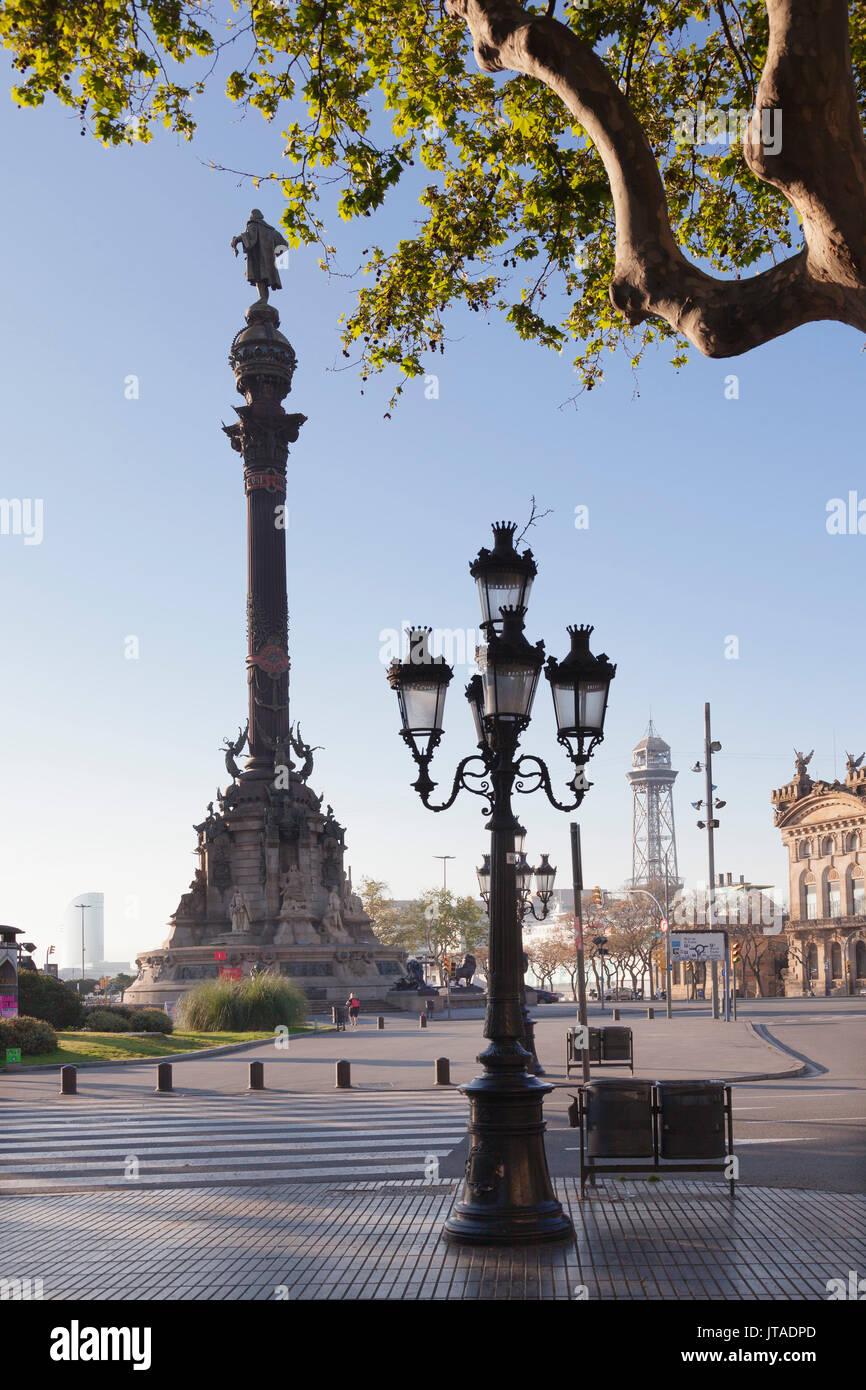 Columbus Monument (Monument a Colom), Placa del Portal de la Pau, Barcelona, Catalonia, Spain, Europe - Stock Image