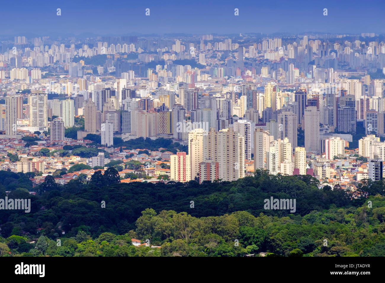 View of Sao Paulo city from the Serra da Cantareira State Park, Sao Paulo, Brazil - Stock Image
