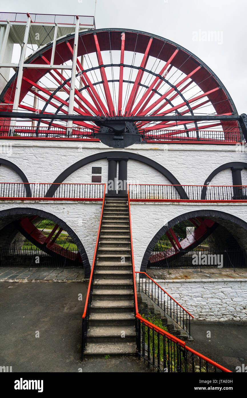 The Great Laxey Wheel, Isle of Man, crown dependency of the United Kingdom, Europe Stock Photo