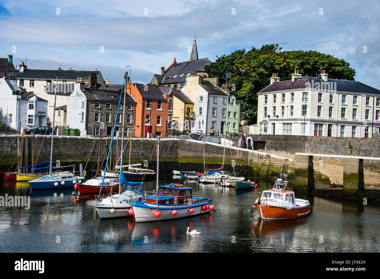 Harbour of Castletown, Isle of Man, crown dependency of the United Kingdom, Europe - Stock Image