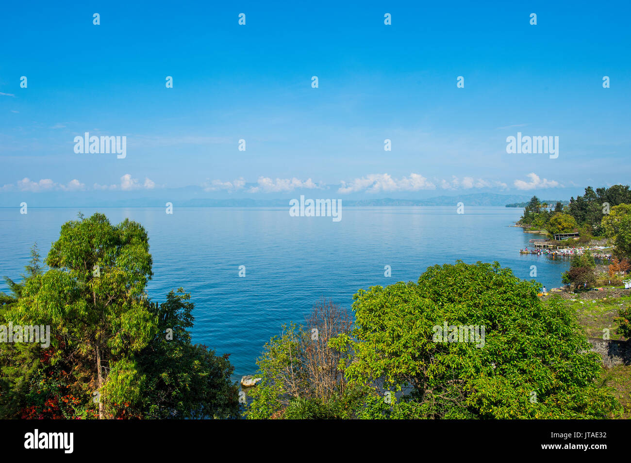 View over Lake Kivu, Goma, Democratic Republic of the Congo, Africa - Stock Image