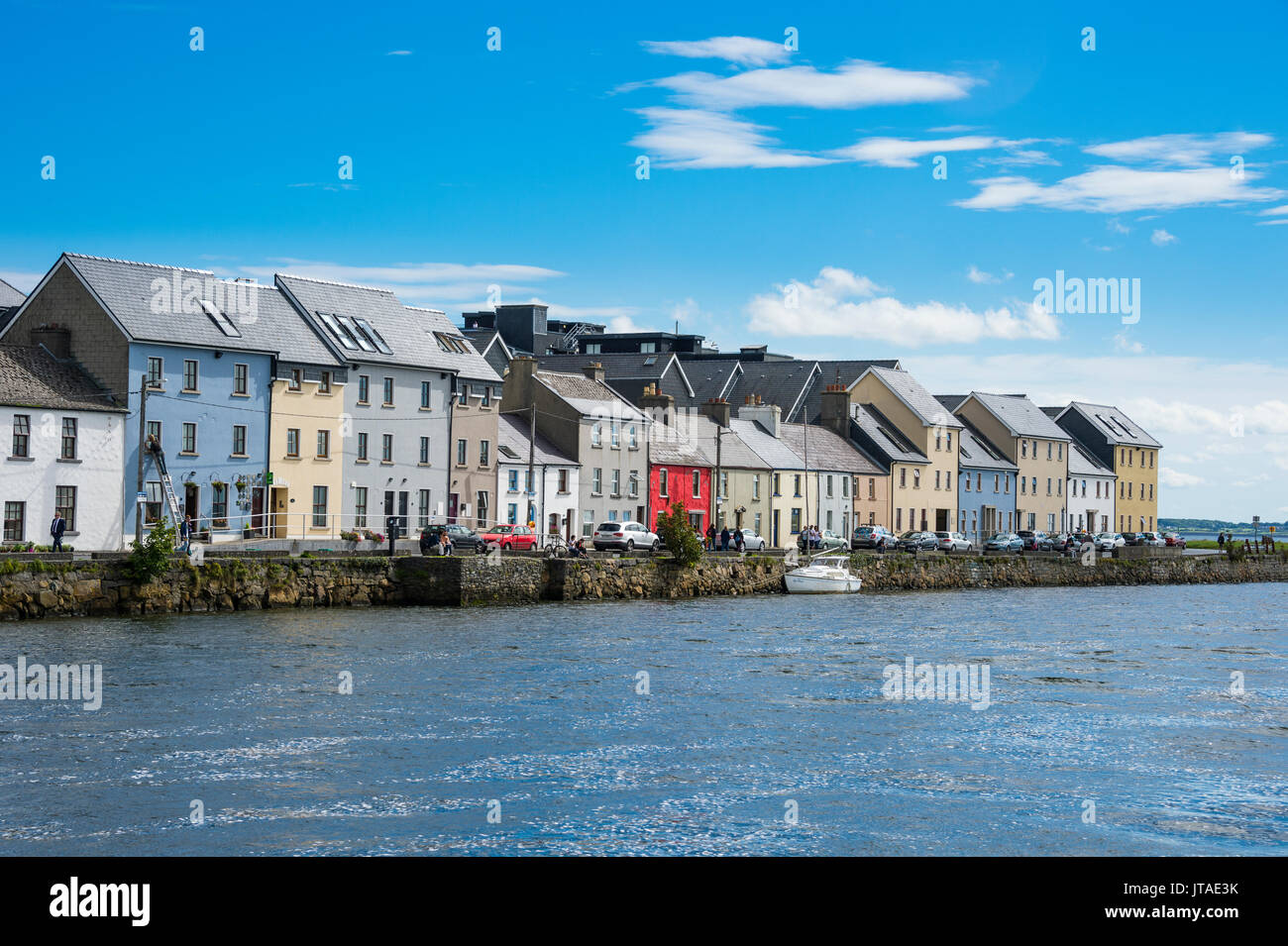 The long walk picturesque walkway, Galway, Connacht, Republic of Ireland, Europe - Stock Image