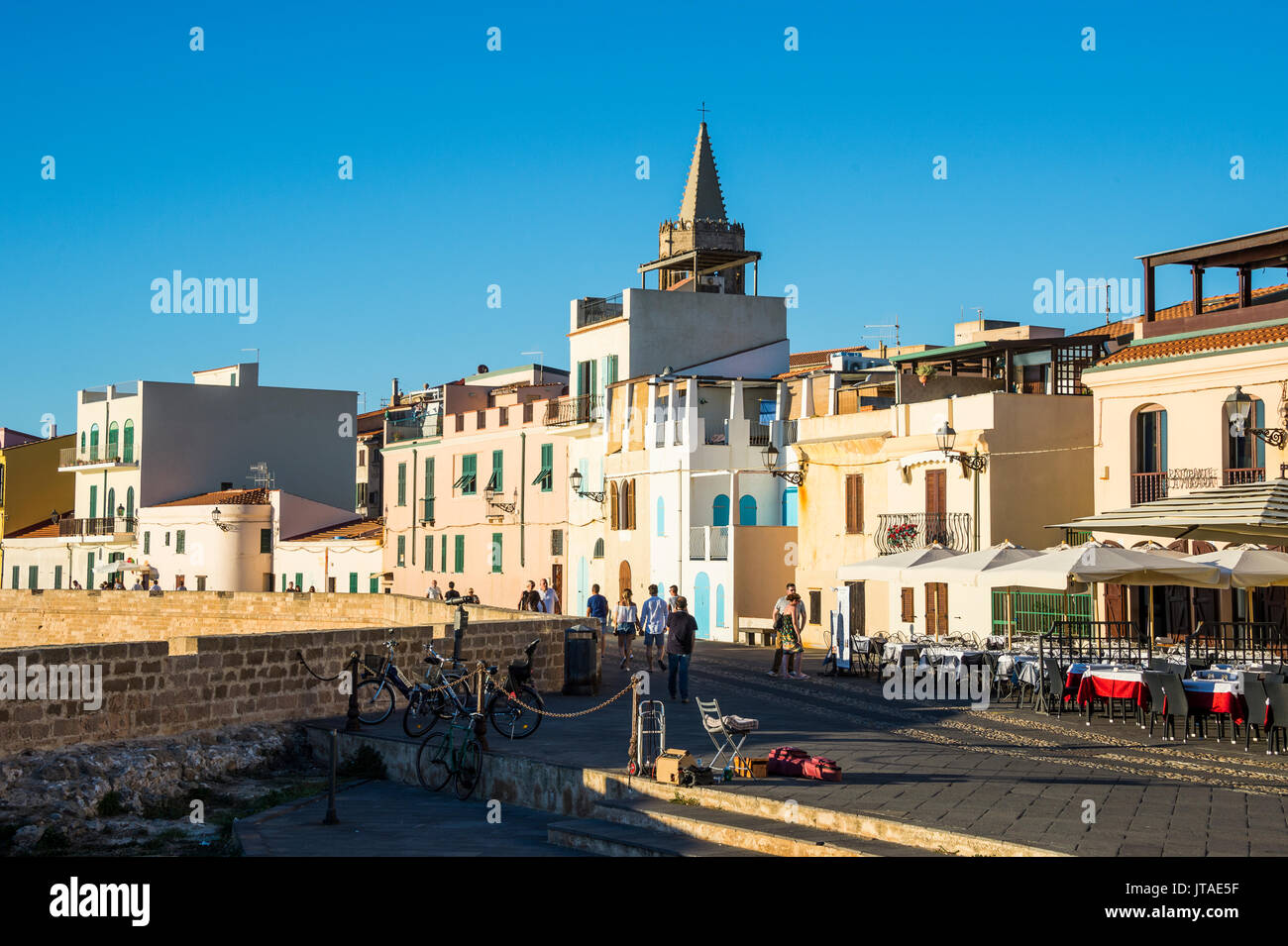 Ocean promenade in the coastal town of Alghero, Sardinia, Italy, Mediterranean, Europe - Stock Image