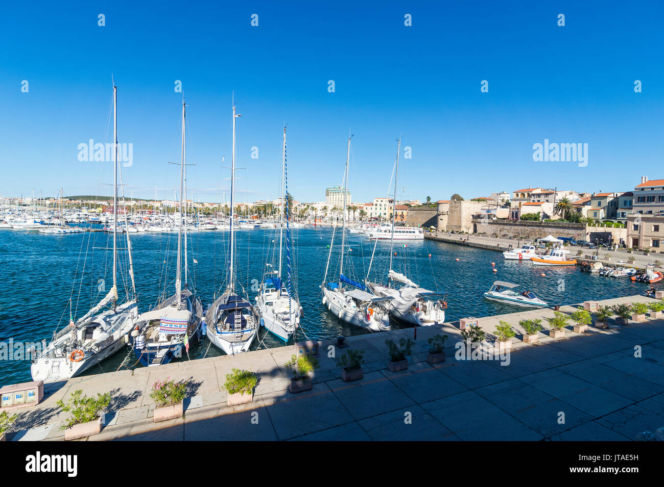 View over the boat harbour of the coastal town of Alghero, Sardinia, Italy, Mediterranean, Europe - Stock Image