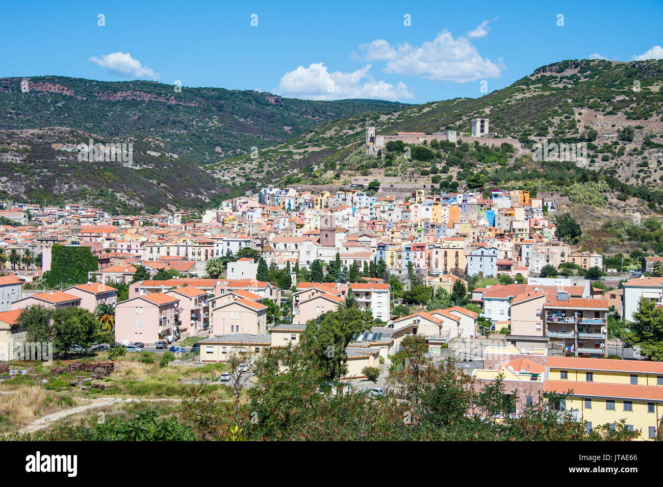View over the town of Bosa at the River Temo, Sardinia, Italy, Europe - Stock Image