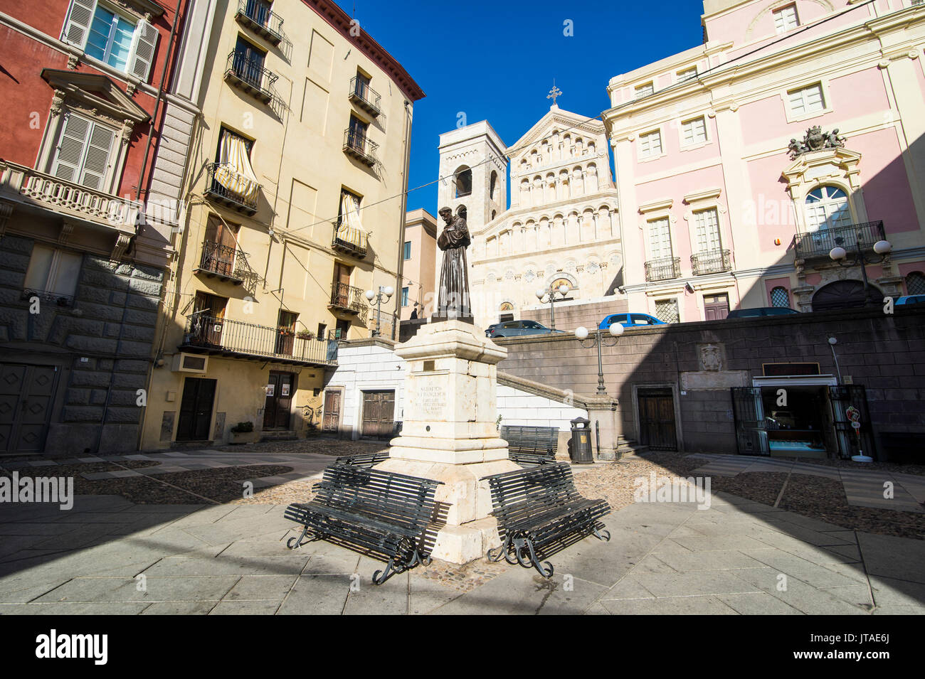 Carlo Alberto square in front of the cathedral of Cagliari, Sardinia, Italy, Europe - Stock Image