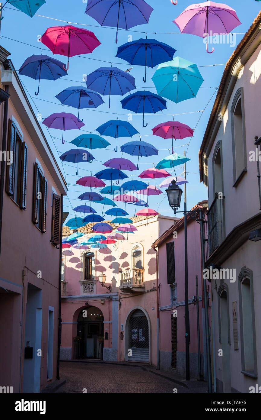 Umbrellas Street in Pula, Sardinia, Italy, Europe - Stock Image
