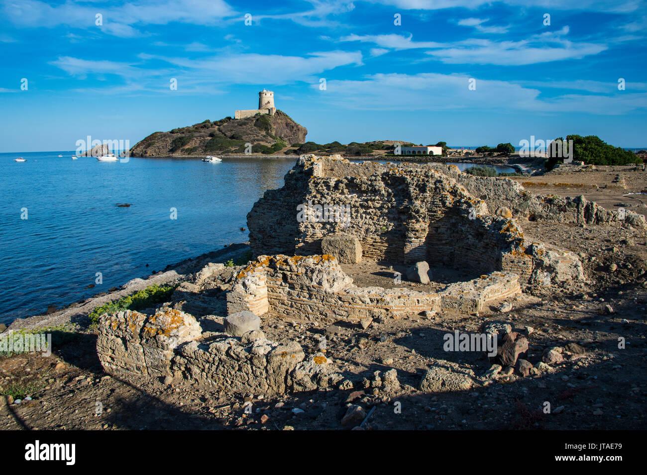 Nora archaeological site, Nora, Sardinia, Italy, Mediterranean, Europe - Stock Image
