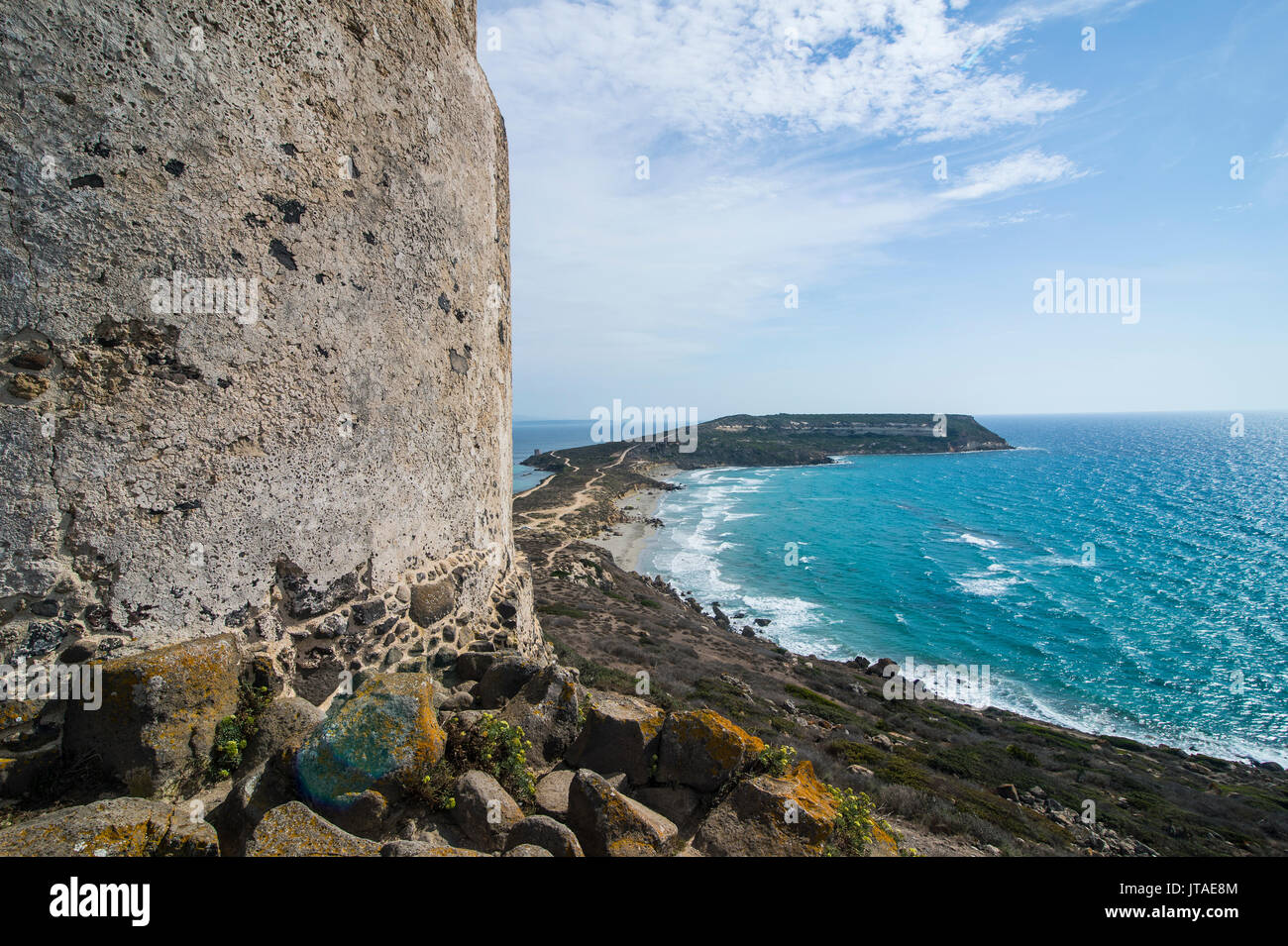 View over Cape San Marcos and San Giovanni tower, Tharros, Sardinia, Italy, Mediterranean, Europe - Stock Image