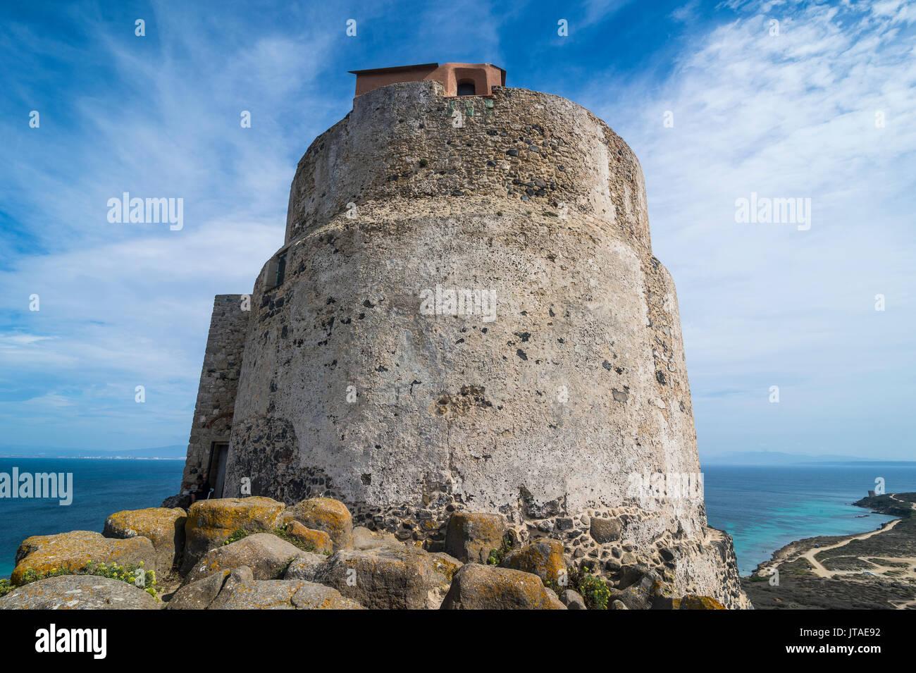Tower of San Giovanni, Tharros, Sardinia, Italy, Mediterranean, Europe Stock Photo