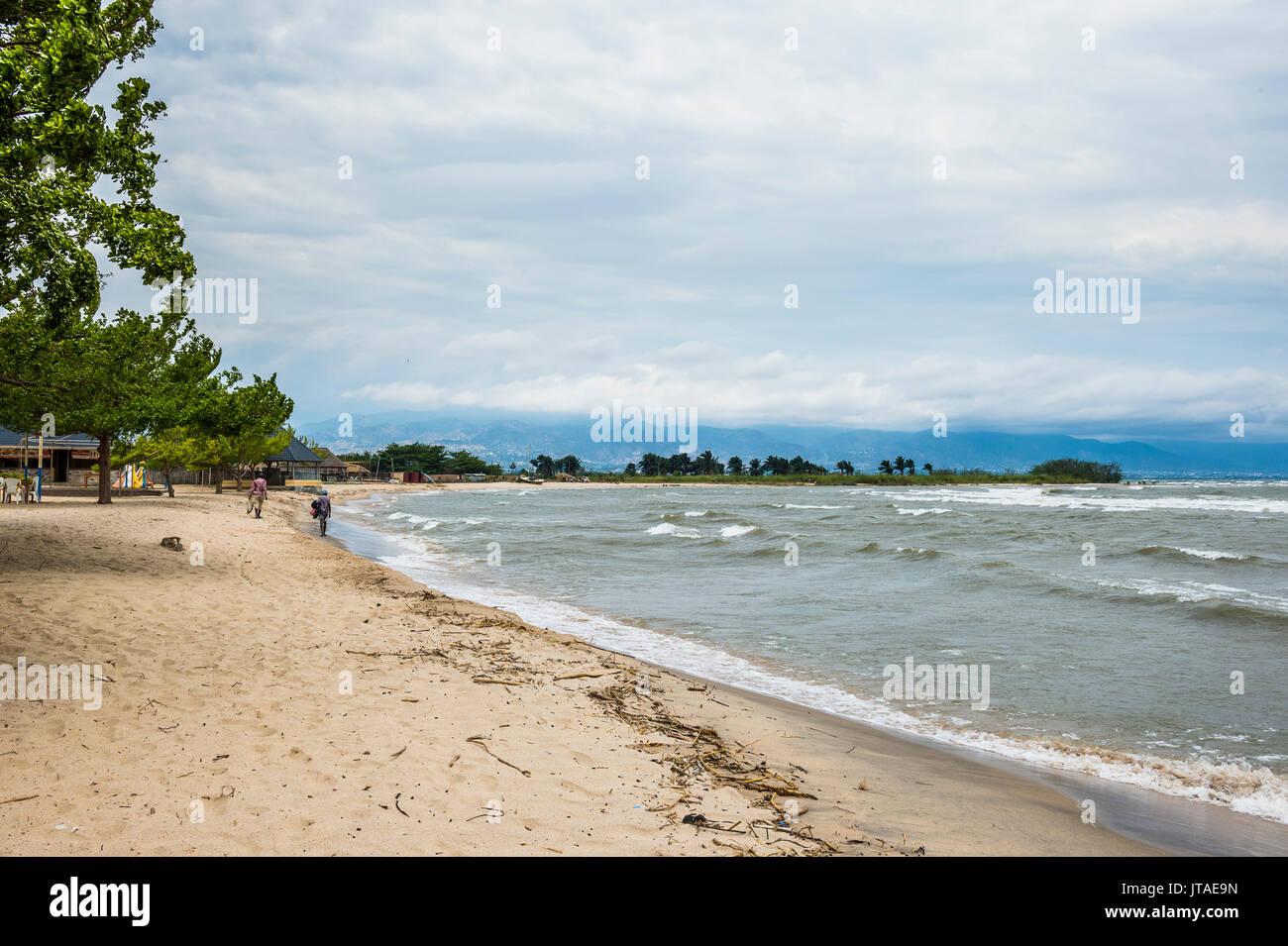 Beach on the shores of Lake Tanganyika, Bujumbura, Burundi, Africa - Stock Image