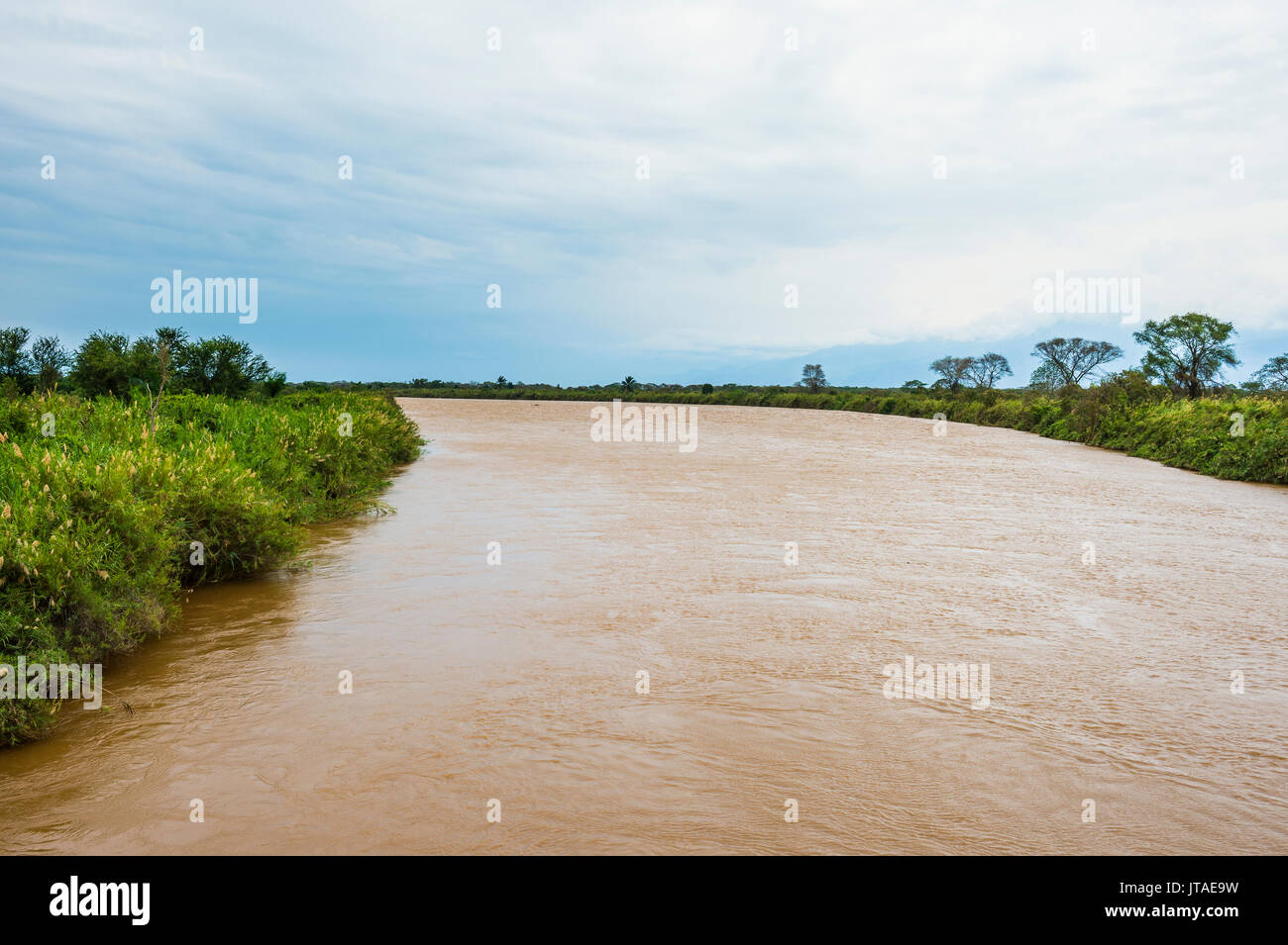 Rusizi River flowing in Lake Tanganyika, Bujumbura, Burundi, Africa - Stock Image
