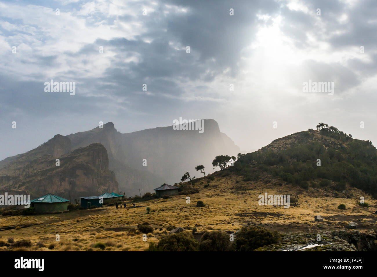 Sun setting over the Simien Mountains National Park, UNESCO World Heritage Site, Debarq, Ethiopia, Africa - Stock Image