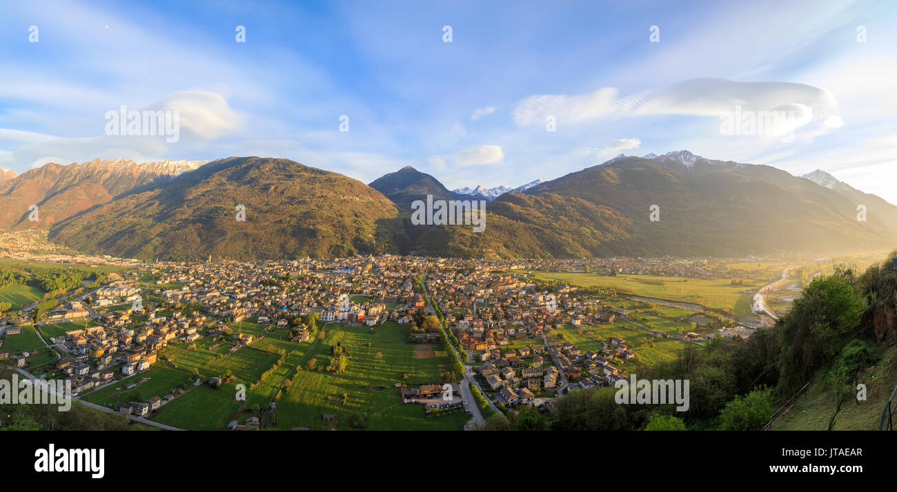 Panorama of the town of Morbegno at sunset, province of Sondrio, Valtellina, Lombardy, Italy, Europe - Stock Image
