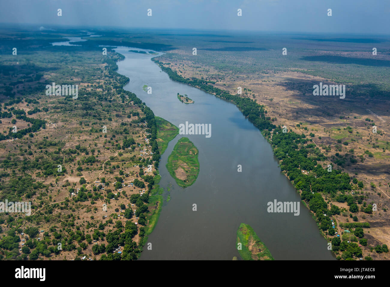 Aerial of the White Nile River, Juba, South Sudan, Africa - Stock Image