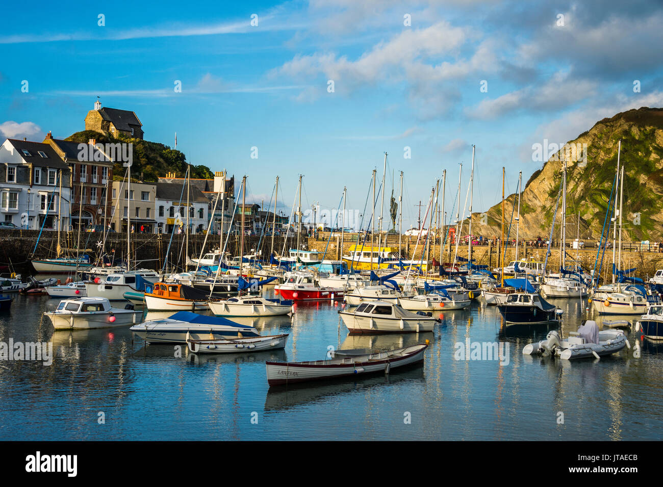 Boat harbour of Ifracombe, North Devon, England, United Kingdom, Europe - Stock Image