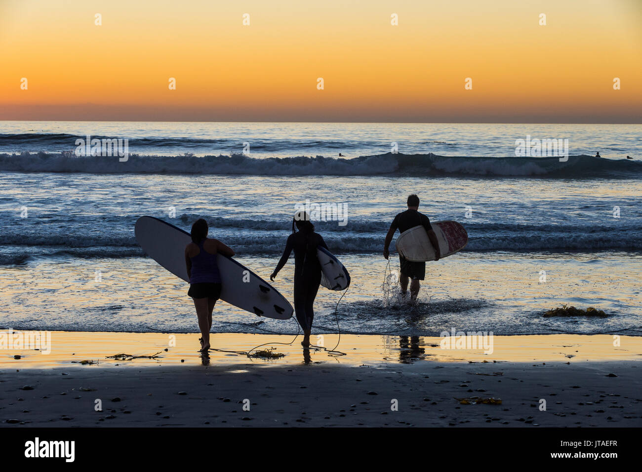 Surfers walking with their surfboards in the ocean at sunset, Del Mar, California, United States of America, North America - Stock Image