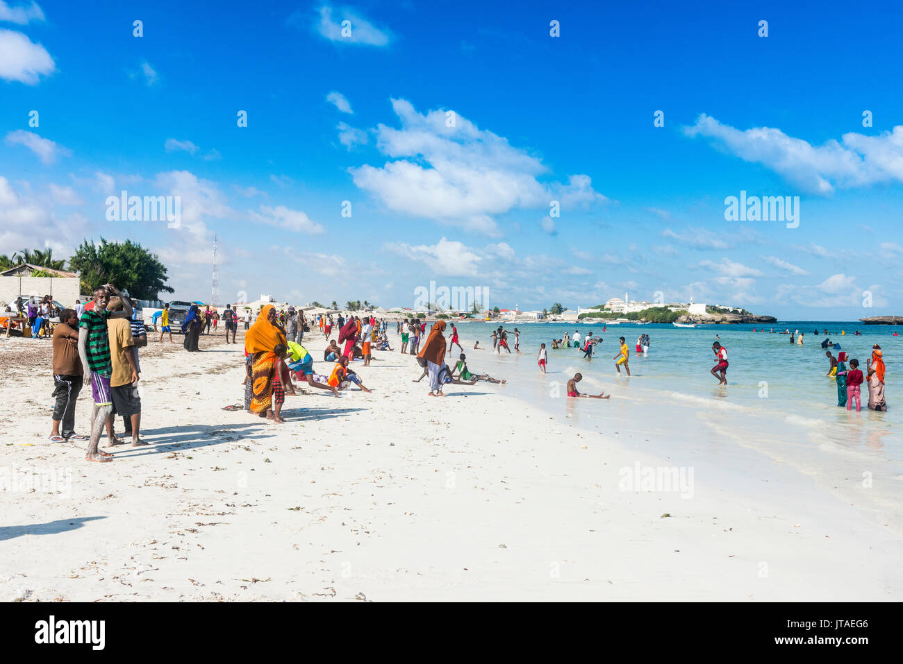 Busy Beach Filled With Locals Jazeera Beach Somalia Africa Stock Photo Alamy