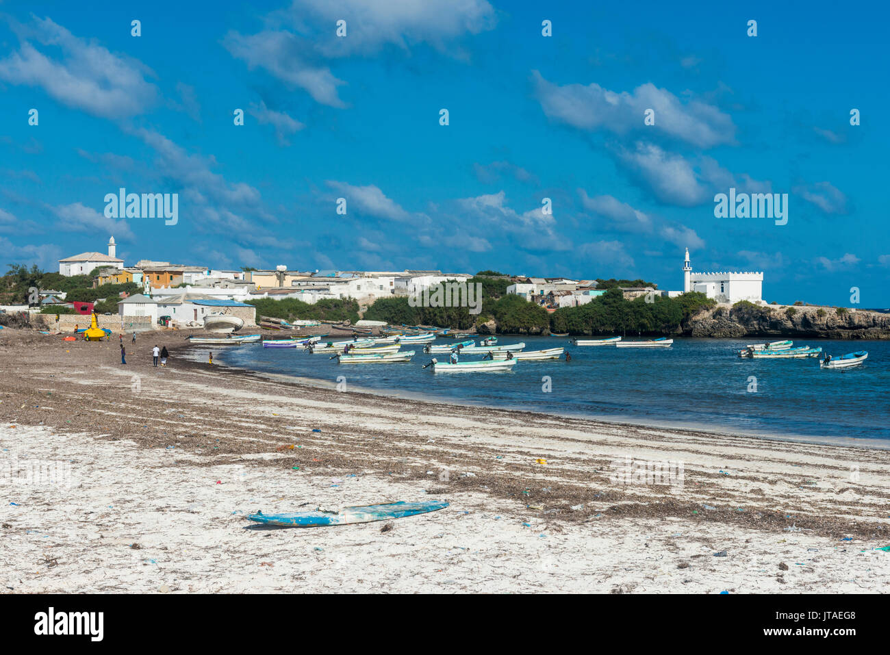 The town of Jazeera at the end of Jazeera beach, Somalia, Africa - Stock Image