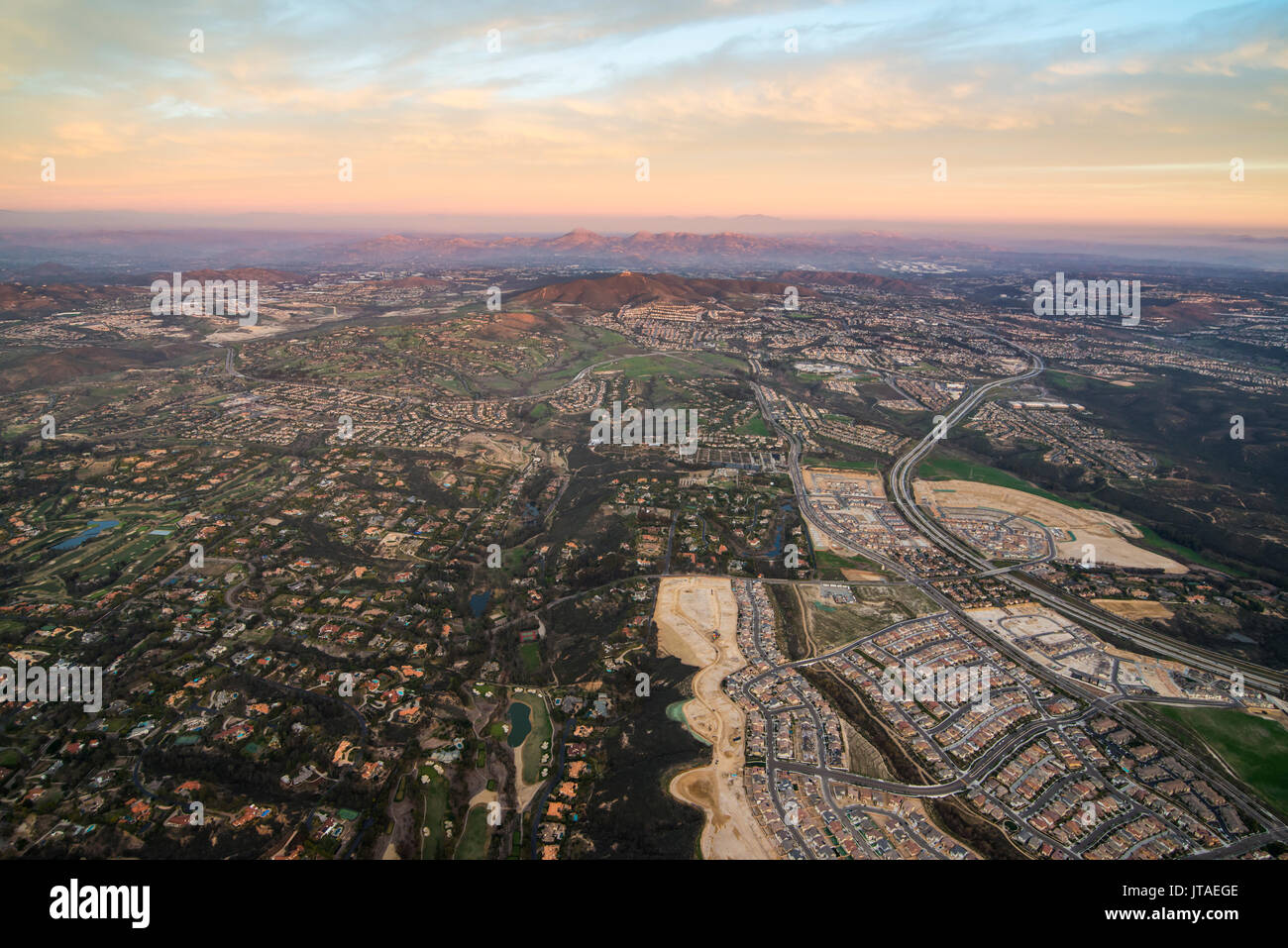 Aerial over Encinitas from a hot air balloon, California, United States of America, North America Stock Photo