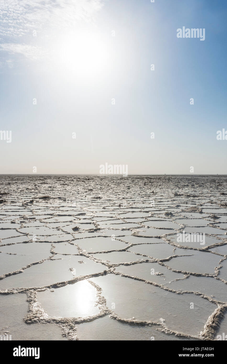 Pure salt in a salt lake, Danakil depression, Ethiopia, Africa - Stock Image
