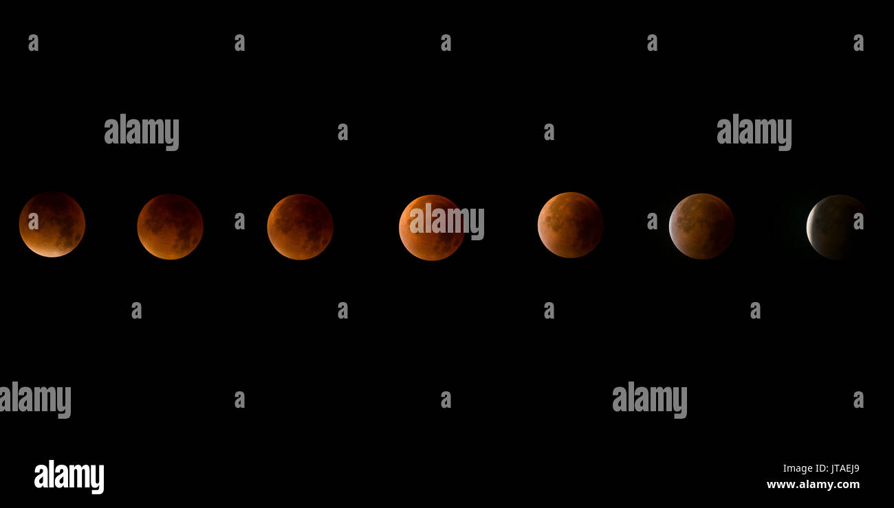 Lunar eclipse, a rare supermoon, blood moon composite phase in the night sky, United Kingdom, Europe - Stock Image