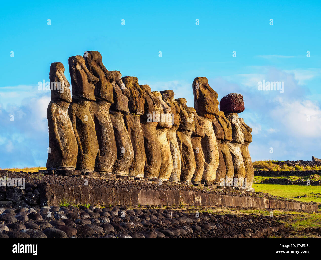 Moais in Ahu Tongariki, Rapa Nui National Park, UNESCO World Heritage Site, Easter Island, Chile - Stock Image
