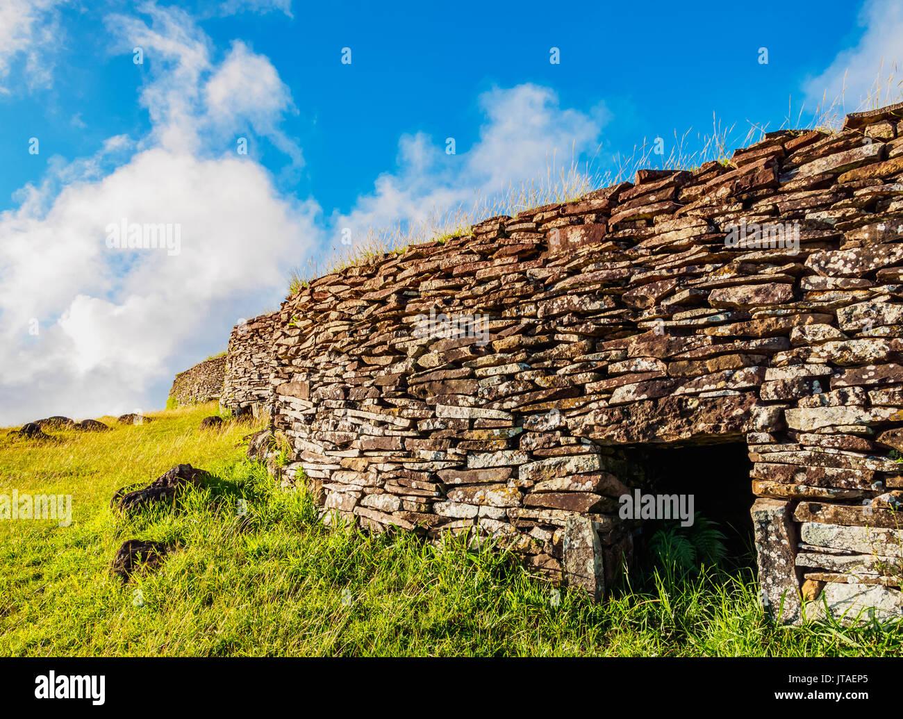 Orongo Village, Rapa Nui National Park, UNESCO World Heritage Site, Easter Island, Chile - Stock Image