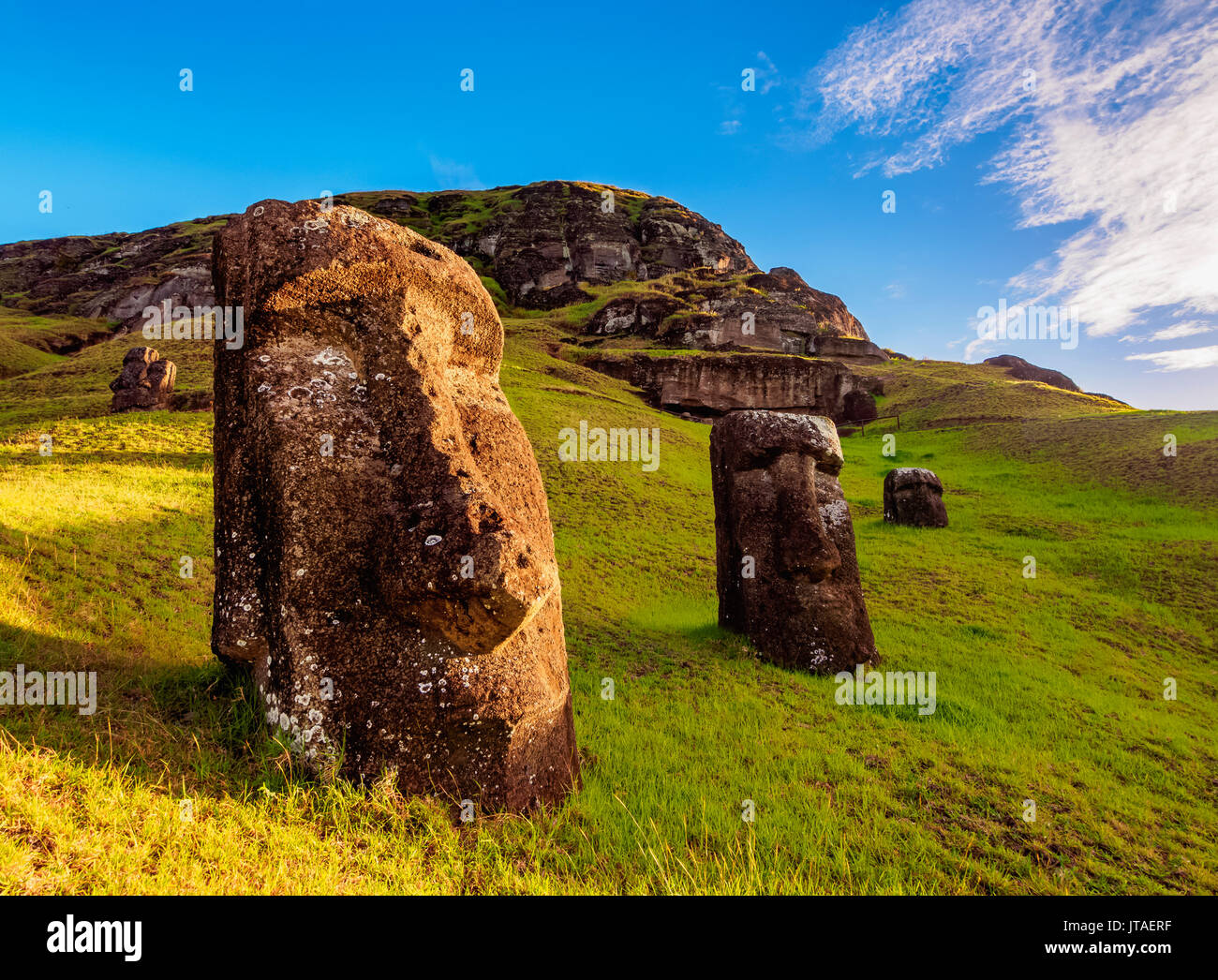 Moais at the quarry on the slope of the Rano Raraku Volcano, Rapa Nui National Park, UNESCO, Easter Island, Chile - Stock Image