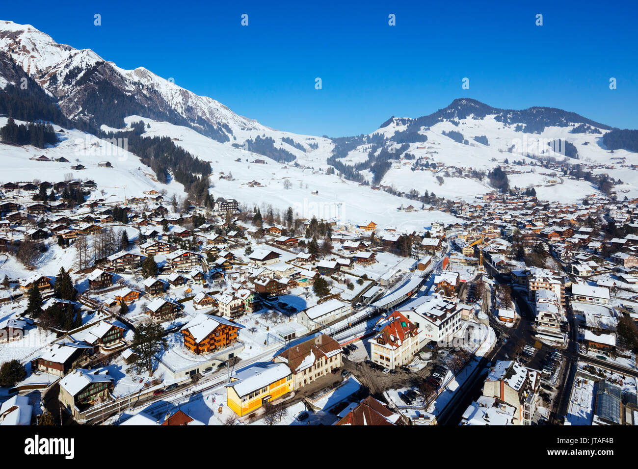 Aerial view, Chateau-d'Oex, Vaud, Swiss Alps, Switzerland, Europe Stock Photo