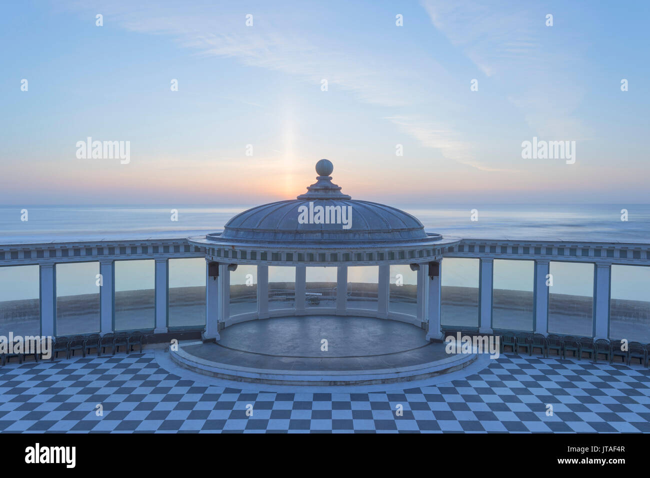 The Spa bandstand and view out to sea at sunrise, South Bay, Scarborough, North Yorkshire, Yorkshire, England, United Kingdom - Stock Image