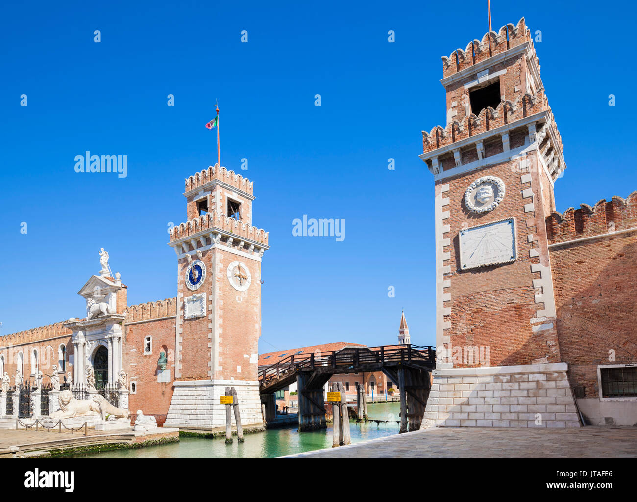 Porta Magna at the Venetian Arsenal (Arsenale di Venezia), a Byzantine shipyard and armoury, Venice, UNESCO, Veneto, Italy - Stock Image