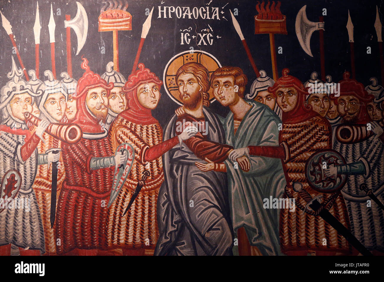 Fresco of Jesus Christ arrested, Church of Archangel Michael, Pedoulas, Cyprus, Europe - Stock Image