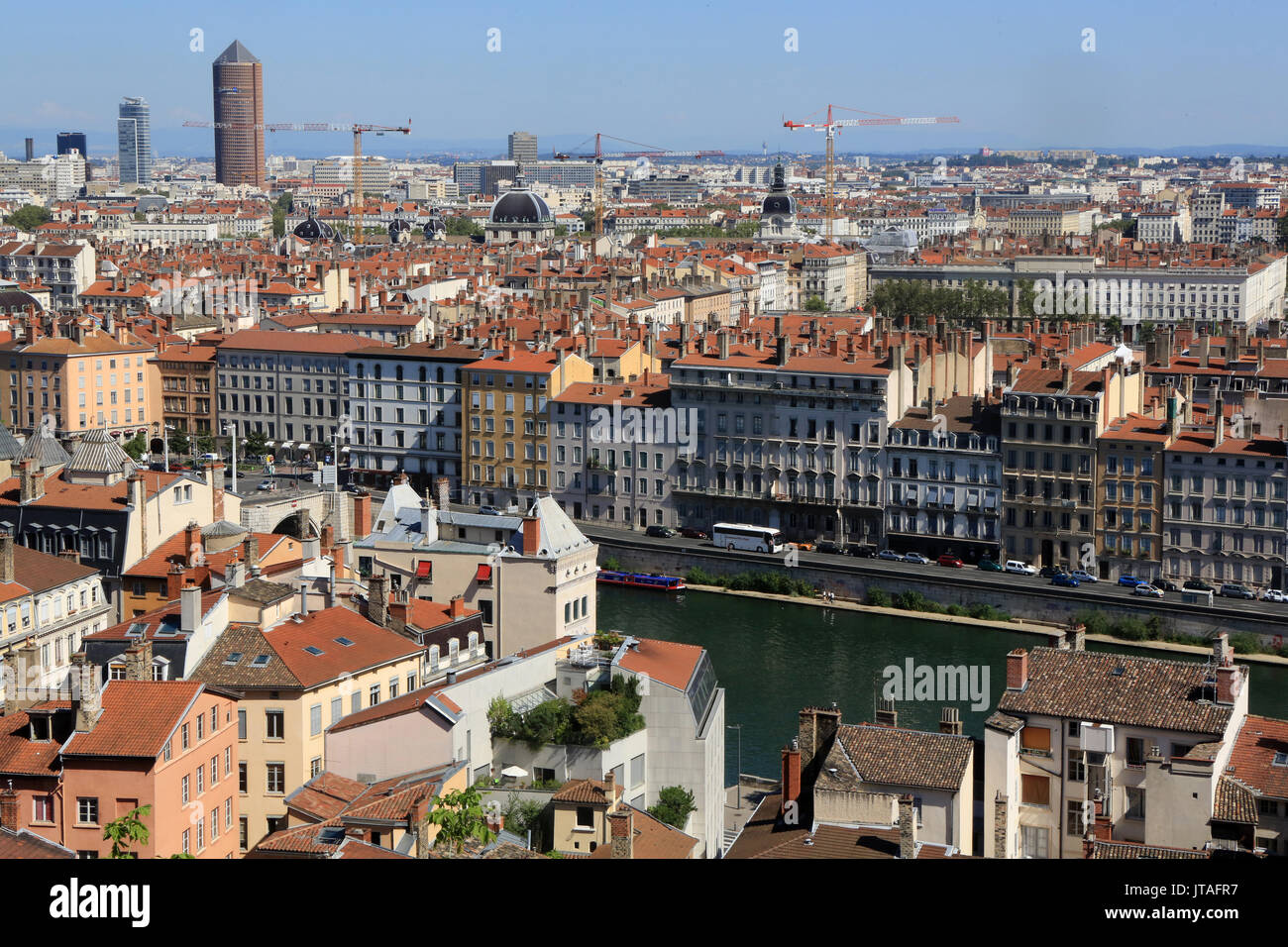 Panoramic view from Viewpoint of Notre Dame de Fourviere hill, Lyon, Rhone Valley, France, Europe - Stock Image