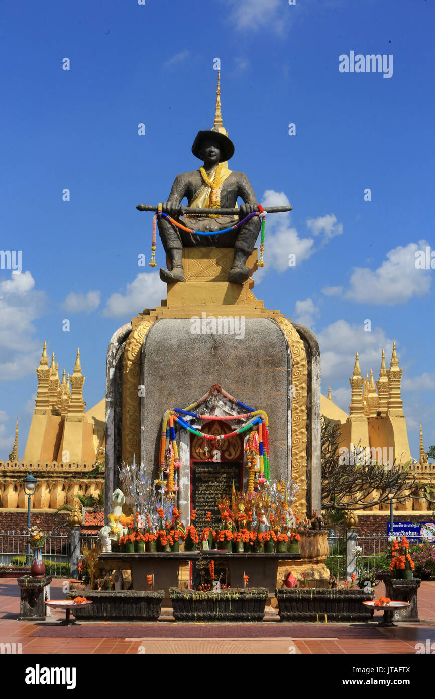 Statue of King Setthathirath, 1534-1571, Pha That Luang, Vientiane, Laos, Indochina, Southeast Asia, Asia - Stock Image