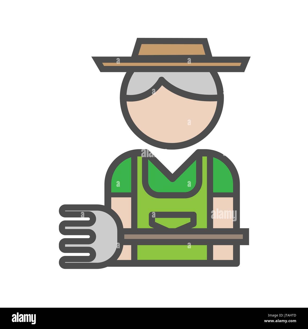 Gardener avatar icon on white background Stock Vector