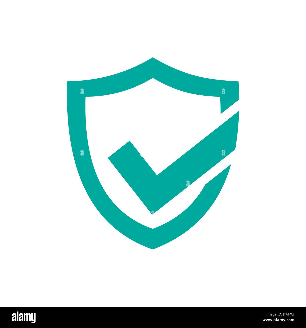 Green active protection shield icon on a white background - Stock Image